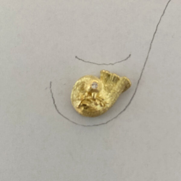 O-15 Vogel mit Zweig 750 Gold
